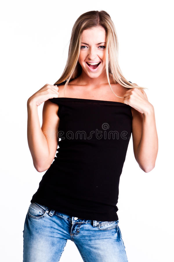 Un femme dans un T-shirt noir photographie stock libre de droits