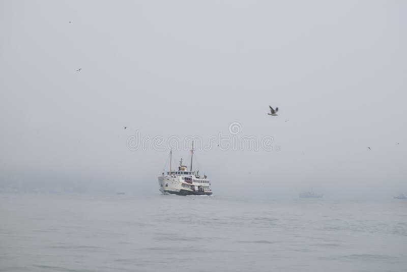 Un ferry dans le brouillard se déplace mer image libre de droits