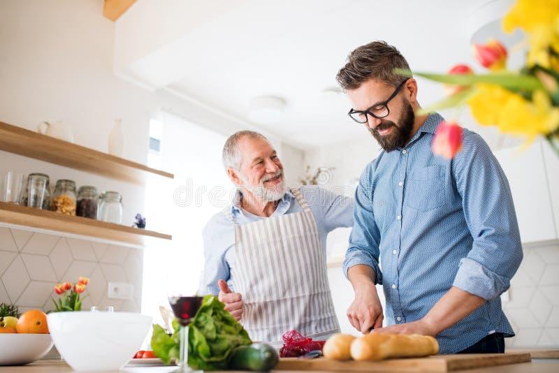 Un figlio adulto dei pantaloni a vita bassa e un padre senior all'interno a casa, cucinando immagini stock libere da diritti