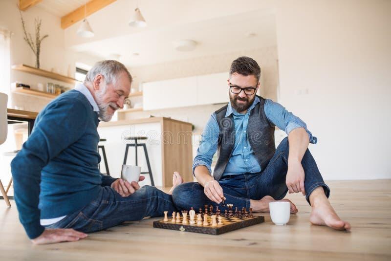 Un figlio adulto dei pantaloni a vita bassa e un padre senior che si siedono sul pavimento all'interno a casa, giocando scacchi immagine stock libera da diritti