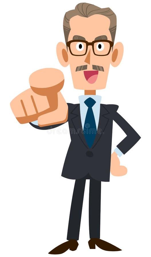 Un finger más viejo del hombre de negocios y el señalar stock de ilustración