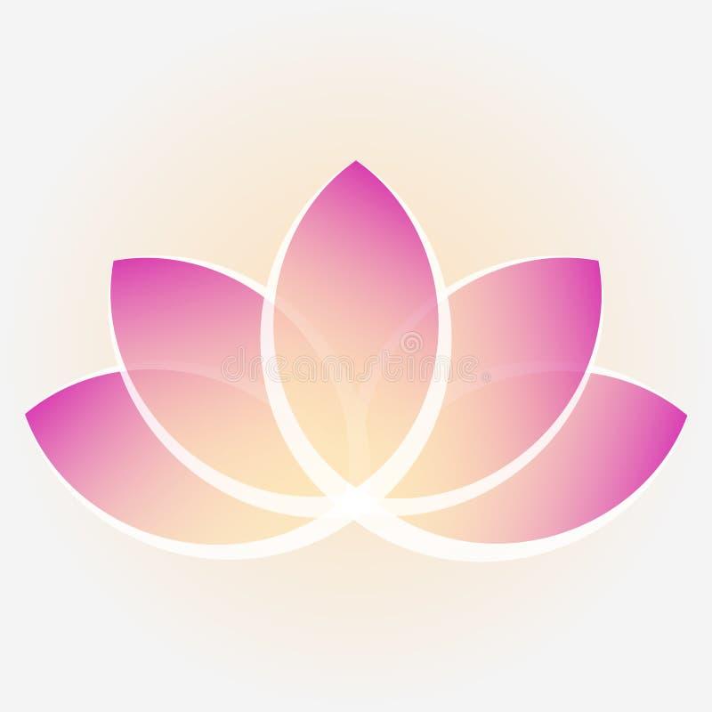 Un fiore di loto con i petali giallo-porpora Immagine per il logos immagine stock
