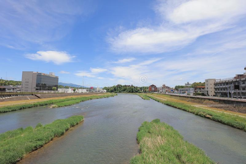 un fiume di Yoshii a Tsuyama Okayama Giappone immagini stock libere da diritti