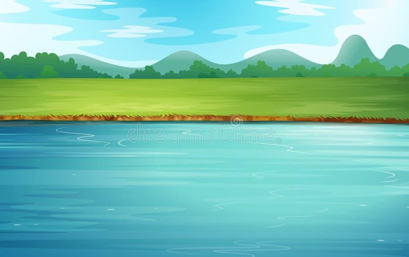 Un fiume e un bello paesaggio illustrazione di stock