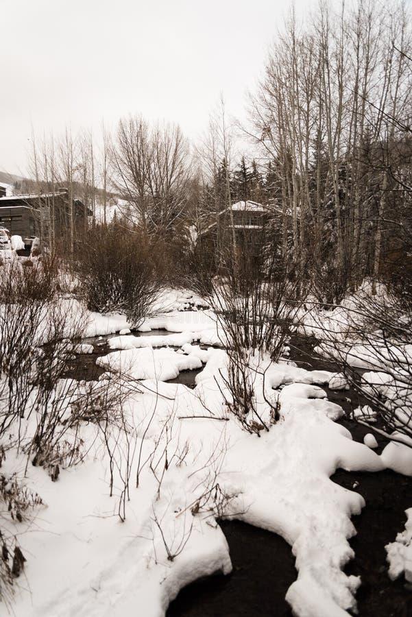 Un fiume innevato in Vail, Colorado durante l'inverno immagini stock