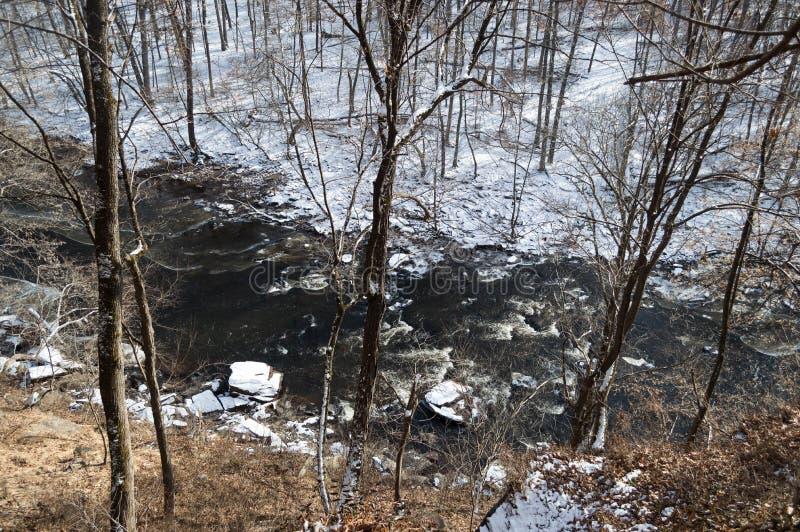 Un fiume nero dell'inverno passa una foresta nevosa immagine stock