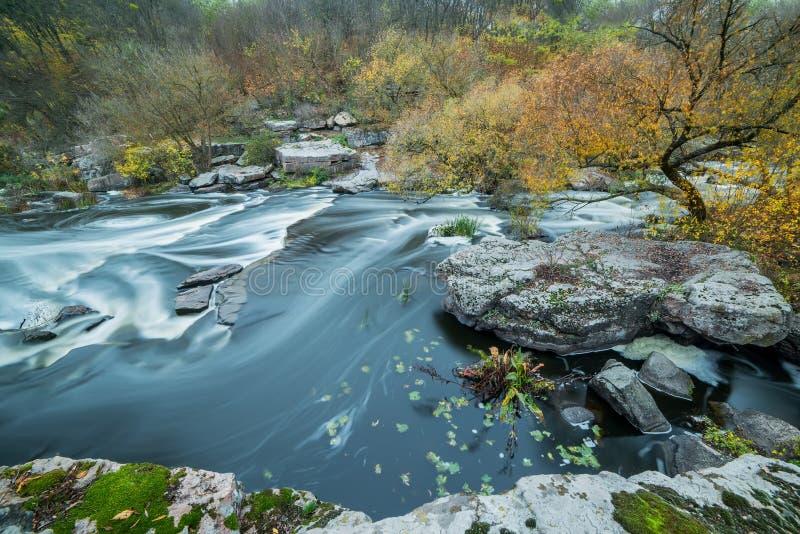 Un fiume veloce che scorre fra le pietre e gli alberi di autunno Vista da sopra immagine stock