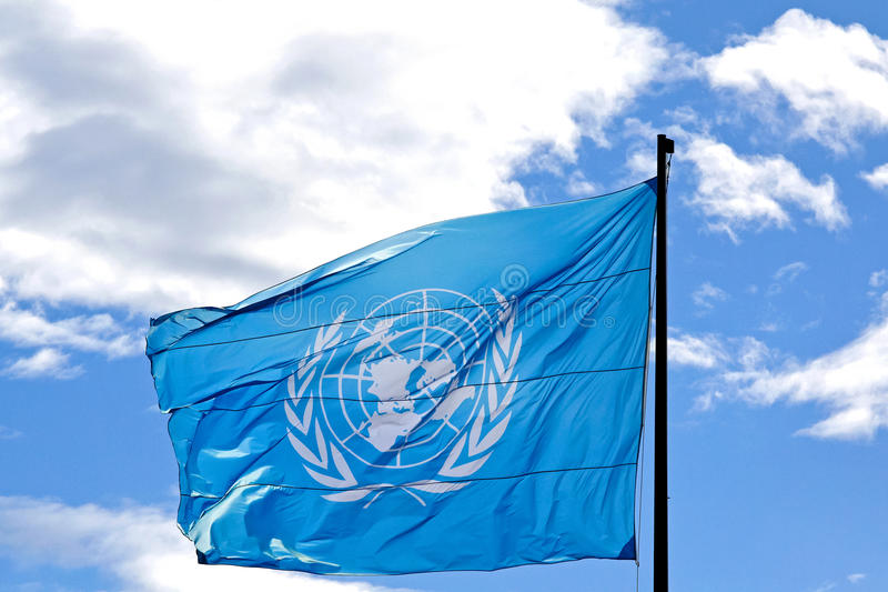 UN flag royalty free stock photo