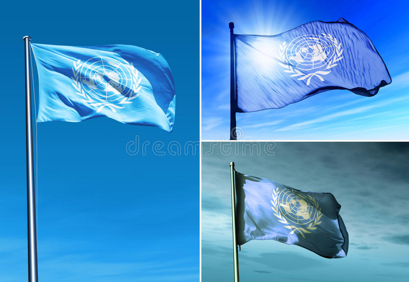 UN flag waving on the wind stock photography