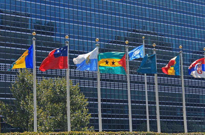UN Flags In Front Of United Nations Building In New York City Royalty Free Stock Photos