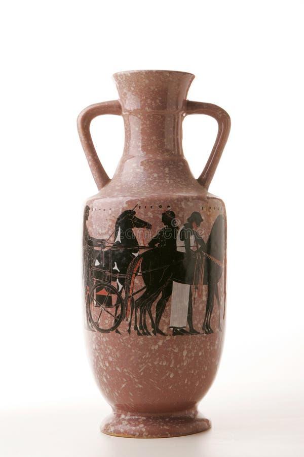 Un florero de cerámica tiene gusto del amphora del griego clásico fotografía de archivo