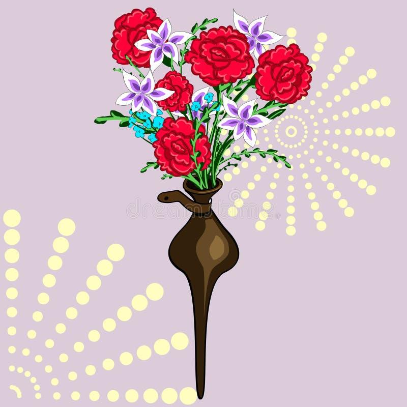 Un florero decorativo en la pared Ramo de flores Crisantemos y claveles ilustración del vector