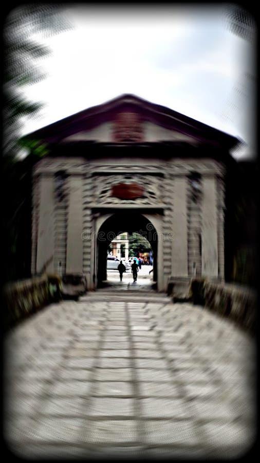 Un flou radial, Puerta del Parian ! Porte d'entrée d'Intramuros photo stock