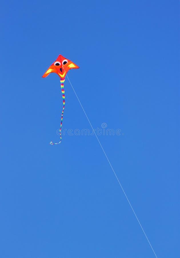Un Fluro a coloré le cerf-volant contre un ciel bleu lumineux d'été image stock