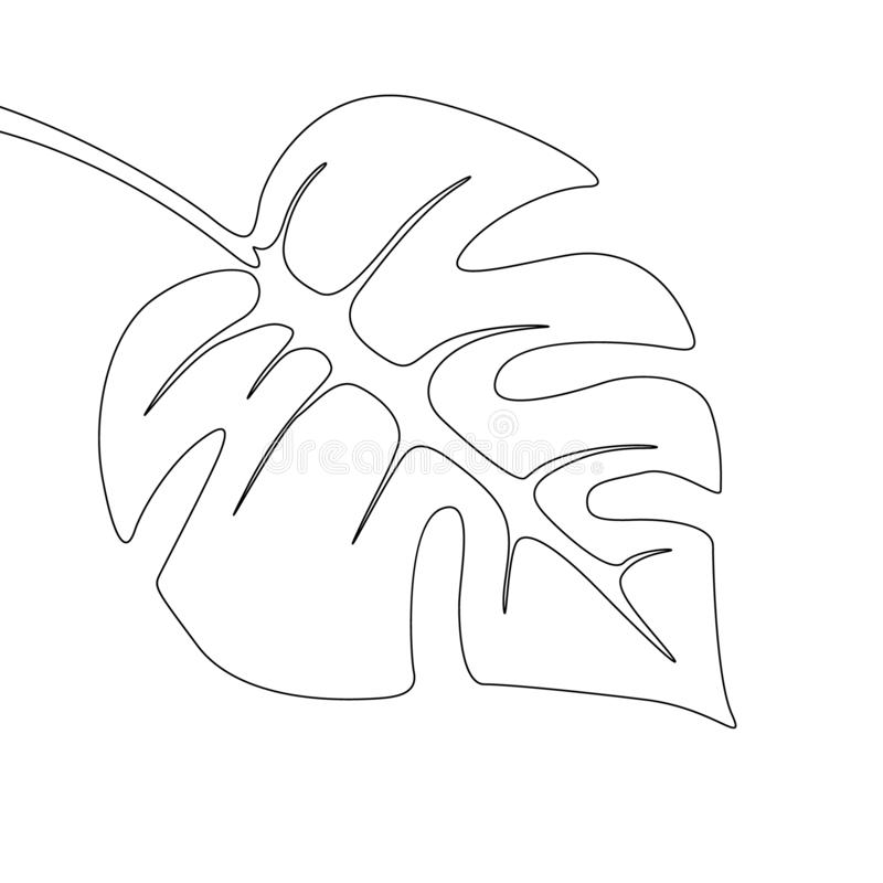 Un foglia di monstera del disegno a tratteggio Linea continua pianta tropicale esotica royalty illustrazione gratis