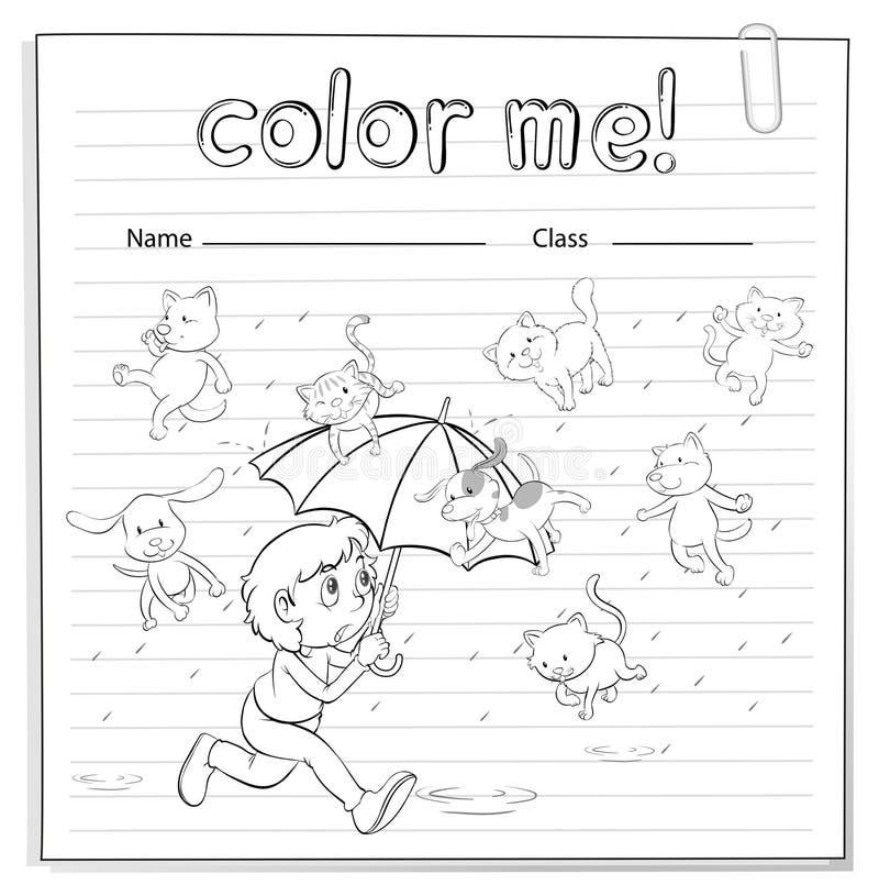 Un foglio di lavoro che mostra una pioggia con i gatti ed i cani illustrazione vettoriale