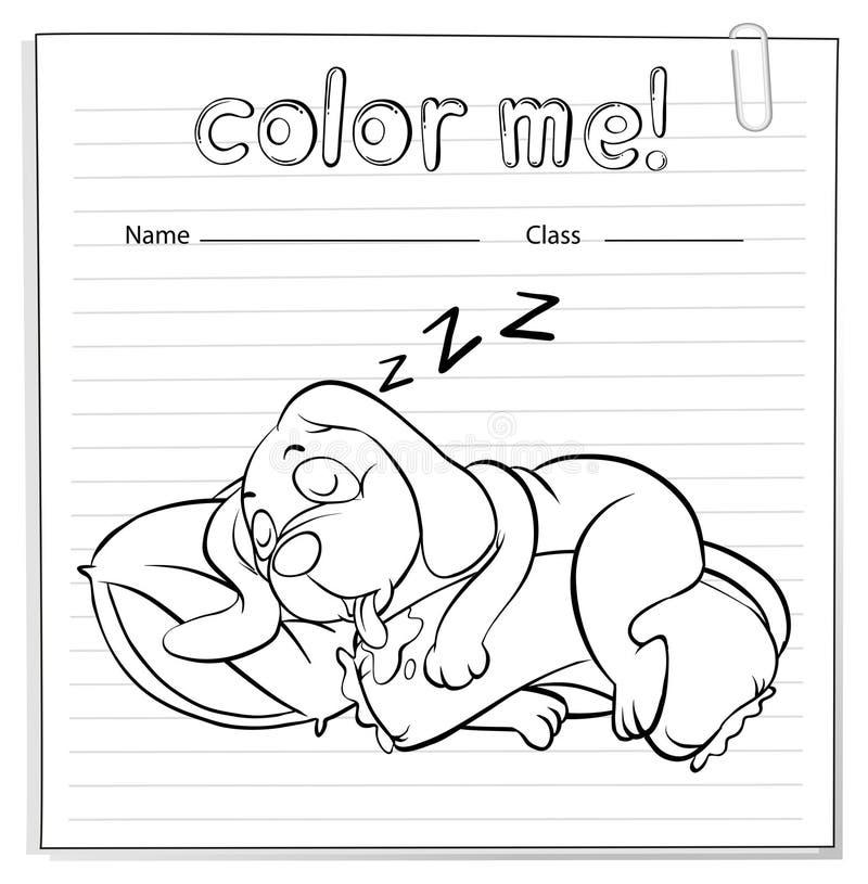 Un foglio di lavoro con un sonno del cane illustrazione di stock