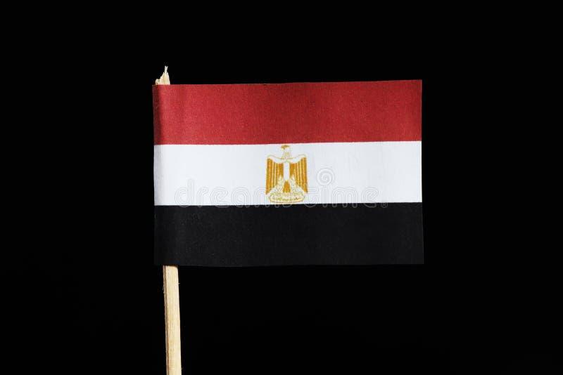 Un fonctionnaire A et un drapeau national de l'Egypte sur le cure-dents sur le fond noir Le drapeau consiste champ rouge, blanc e photo libre de droits