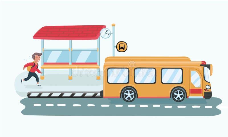 Un fonctionnement de garçon pour chasser l'autobus scolaire parce qu'il est parti à la maison trop tard illustration libre de droits