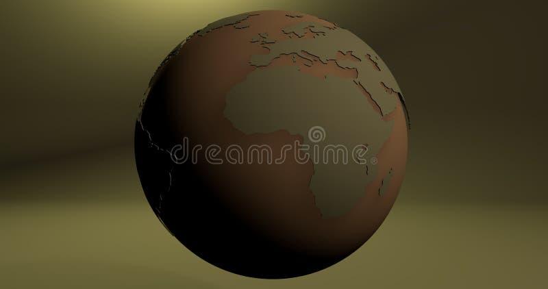 Un fond avec la planète de la terre dans la couleur verte, qui montre le continent de l'Afrique illustration stock