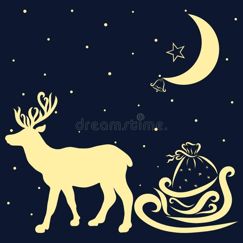 Un fond avec les cadeaux de transport d'un cerf commun de Santa Claus illustration stock