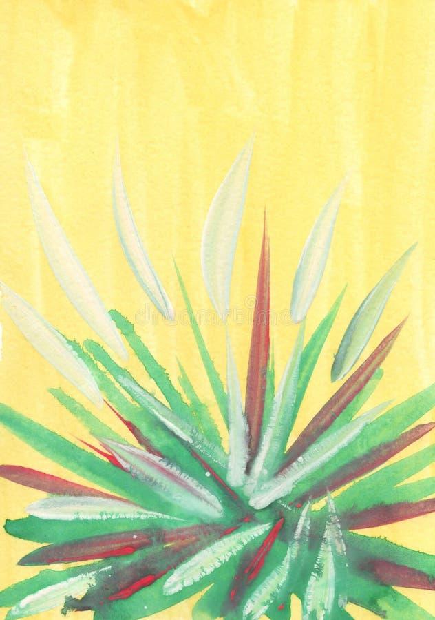 Un fond jaune intéressant d'aquarelle avec des traçages de la peinture blanche, verte et rouge sur le fond de la feuille illustration de vecteur