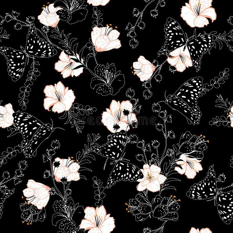 Un fond noir avec le beau tiret blanc et la broderie coulent illustration stock