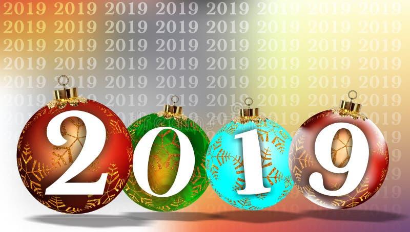 Un fondo da 2019 nuovi anni di Natale illustrazione vettoriale