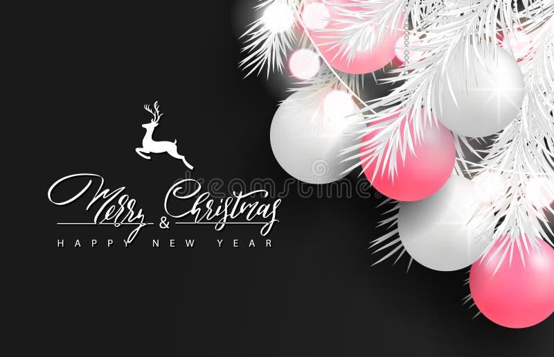 Un fondo del buon anno e di 2019 Buon Natale per la cartolina d'auguri di festa, manifesto, insegna Belle palle dell'albero, ghir illustrazione di stock