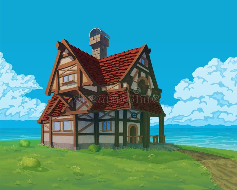 Un fondo di alta qualità - casa rurale di vettore Vecchio palazzo europeo sulla collina illustrazione vettoriale