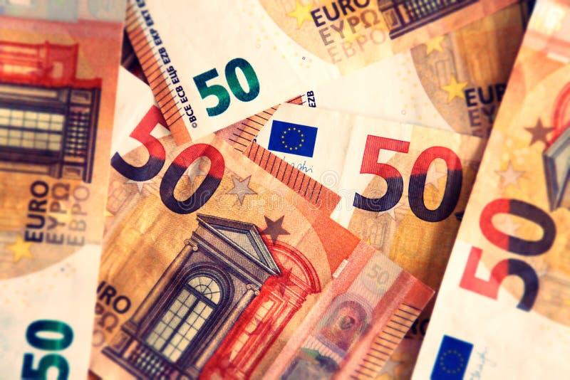 Un fondo di 50 banconote degli euro fotografie stock libere da diritti