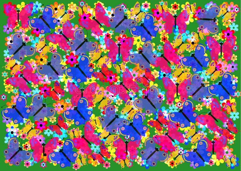 Un fondo hermoso con las mariposas coloridas ilustración del vector