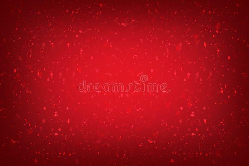 Un fondo rojo de la bandera de la Navidad con las luces y chispear fondo rojo hermoso con textura, la Navidad del vintage o tarje stock de ilustración