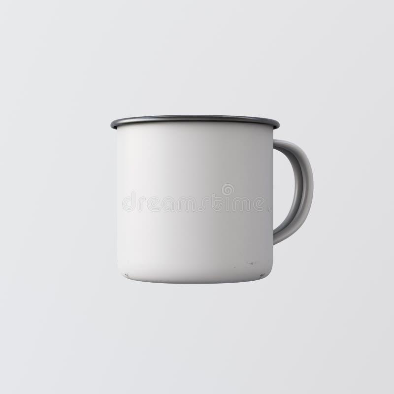Un fondo vuoto isolato tazza da caffè bianca in bianco del metallo di colore Messaggio pronto di progettazione corporativa dello  illustrazione vettoriale