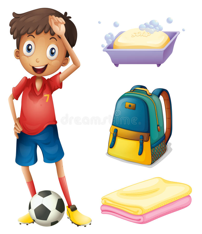 Un footballeur avec ses substances de sac à dos et de salle de bains illustration de vecteur