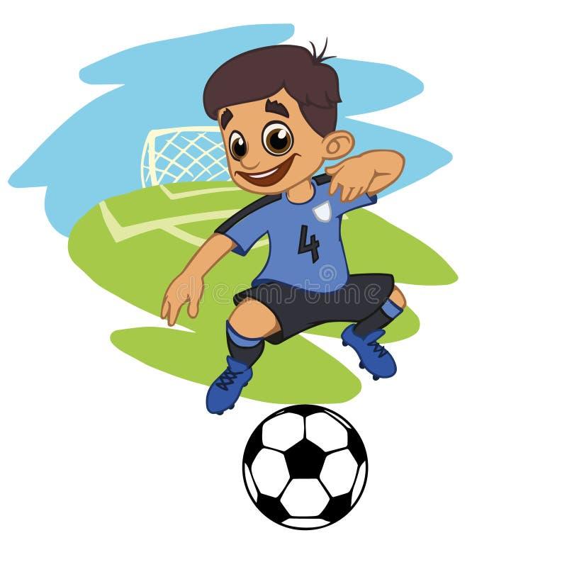 Un footballeur de bande dessinée joue la boule dans un stade dans l'uniforme illustration de vecteur