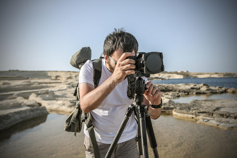 Un fotografo professionista fotografie stock libere da diritti