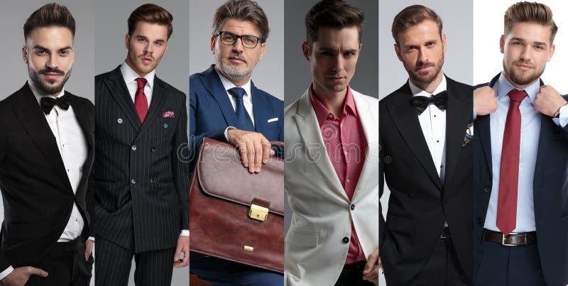Un fotomontaggio dei ritratti di sei uomini attraenti differenti immagine stock