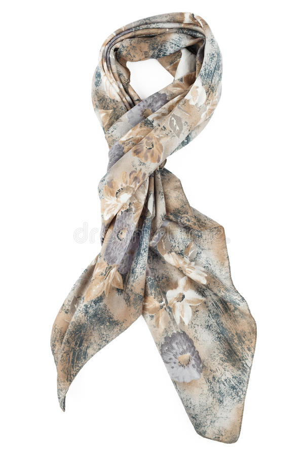 Un foulard est gris ficelé sur un noeud sur un fond blanc photographie stock