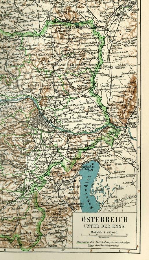 Un fragment d'une vieille carte de l'Europe centrale, Est de l'Allemagne illustration stock