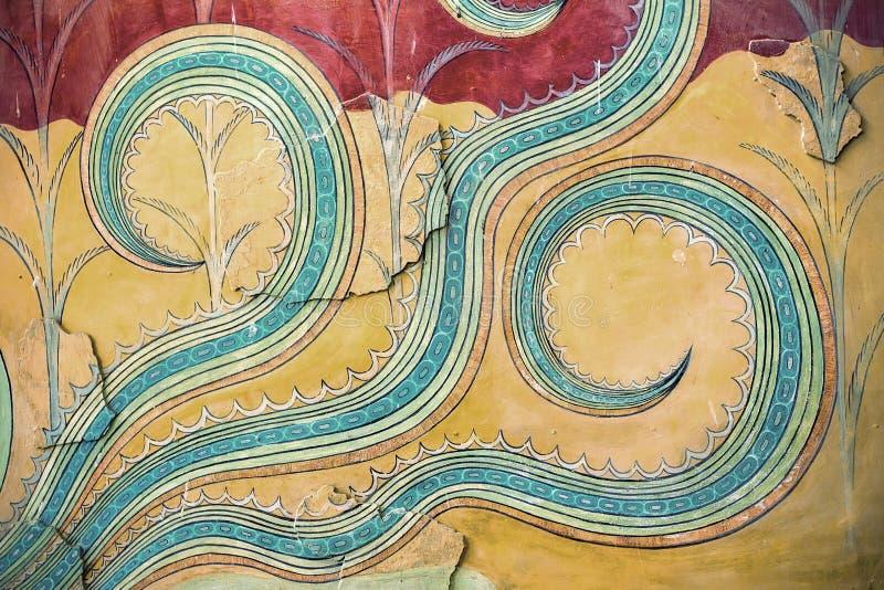 Un fragment des peintures de mur antiques Le palais de Knossos, Cre images libres de droits