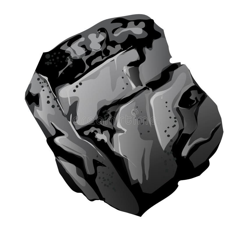 Un frammento di carbone di pietra La fonte di energia ed i minerali utili isolati su fondo bianco Primo piano del fumetto di vett illustrazione vettoriale