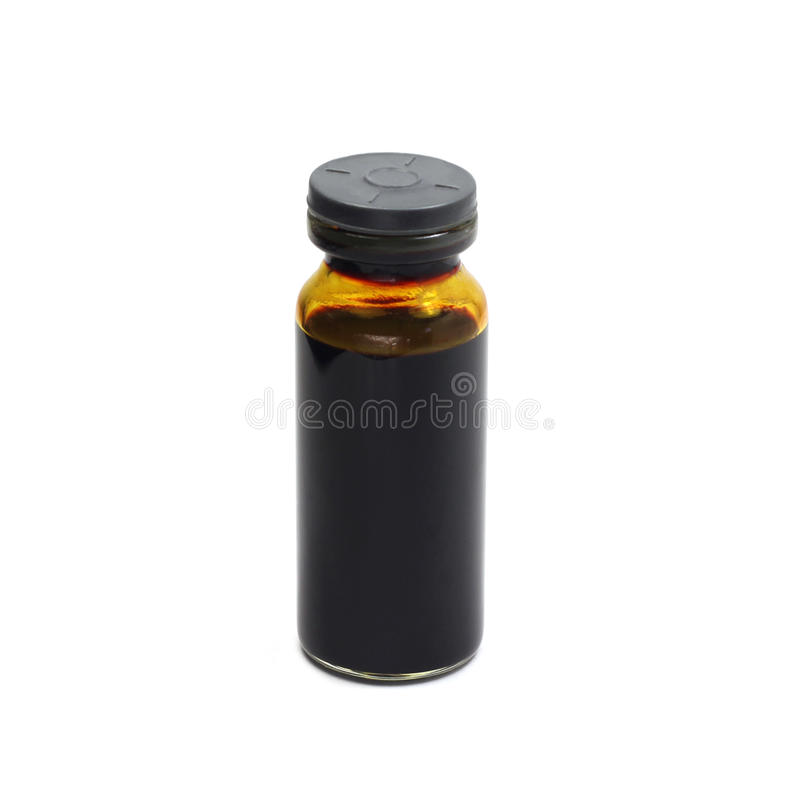 un frasco con una solución del yodo fotografía de archivo