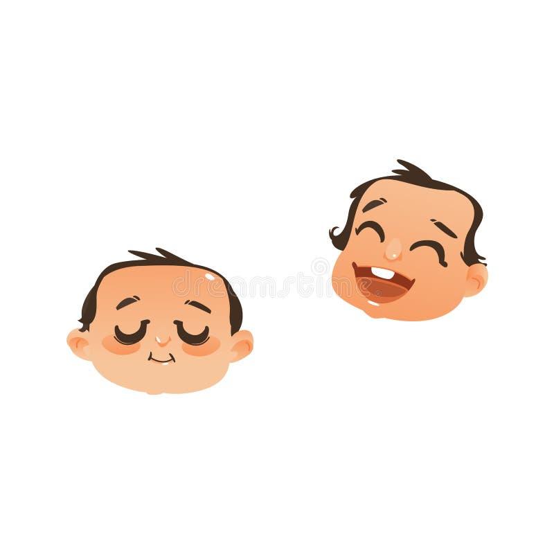 Un fronte di due bambini, icone cape - dormendo e ridere illustrazione di stock