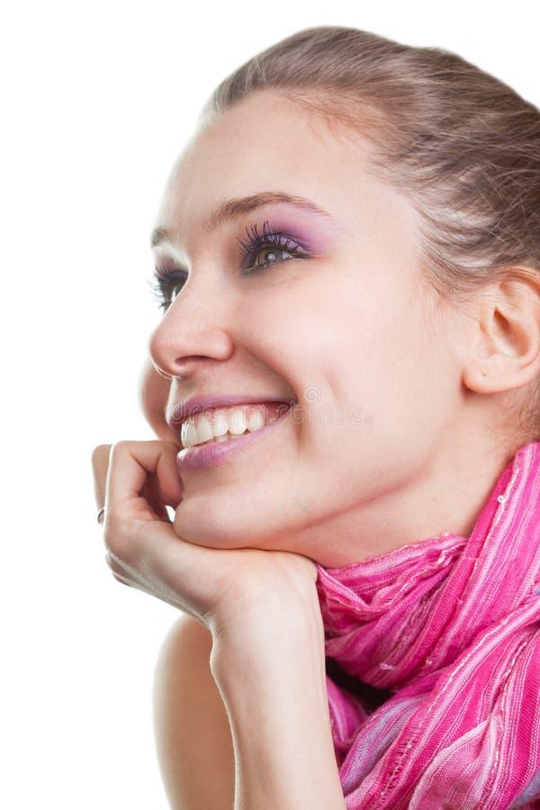Un fronte di una giovane donna allegra felice immagine stock