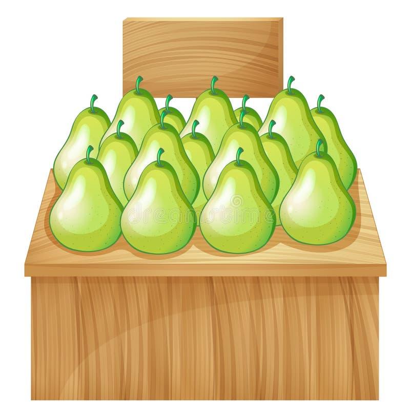 Un fruitstand al mercato con un'insegna vuota illustrazione vettoriale