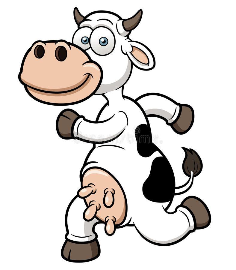 Un fumetto corrente della mucca illustrazione vettoriale