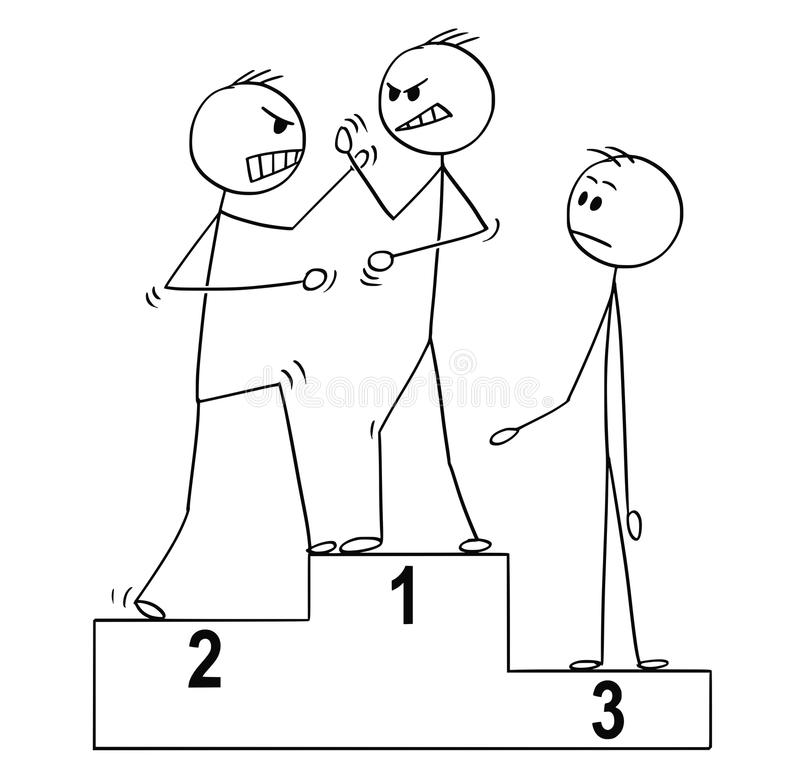 Un fumetto dell'uomo tre sul podio dei vincitori di sport, due di loro sta combattendo o discutendo royalty illustrazione gratis
