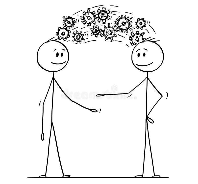 Un fumetto di due uomini o uomini d'affari che dividono conoscenza visualizzata come ruote del dente che vengono dalla testa illustrazione di stock