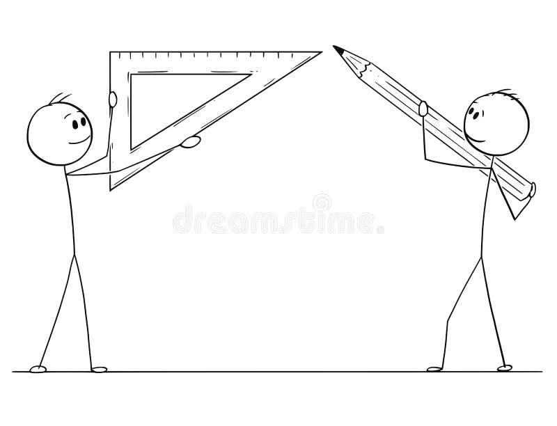 Un fumetto di due uomini o uomini d'affari che tengono il righello del triangolo e della matita royalty illustrazione gratis